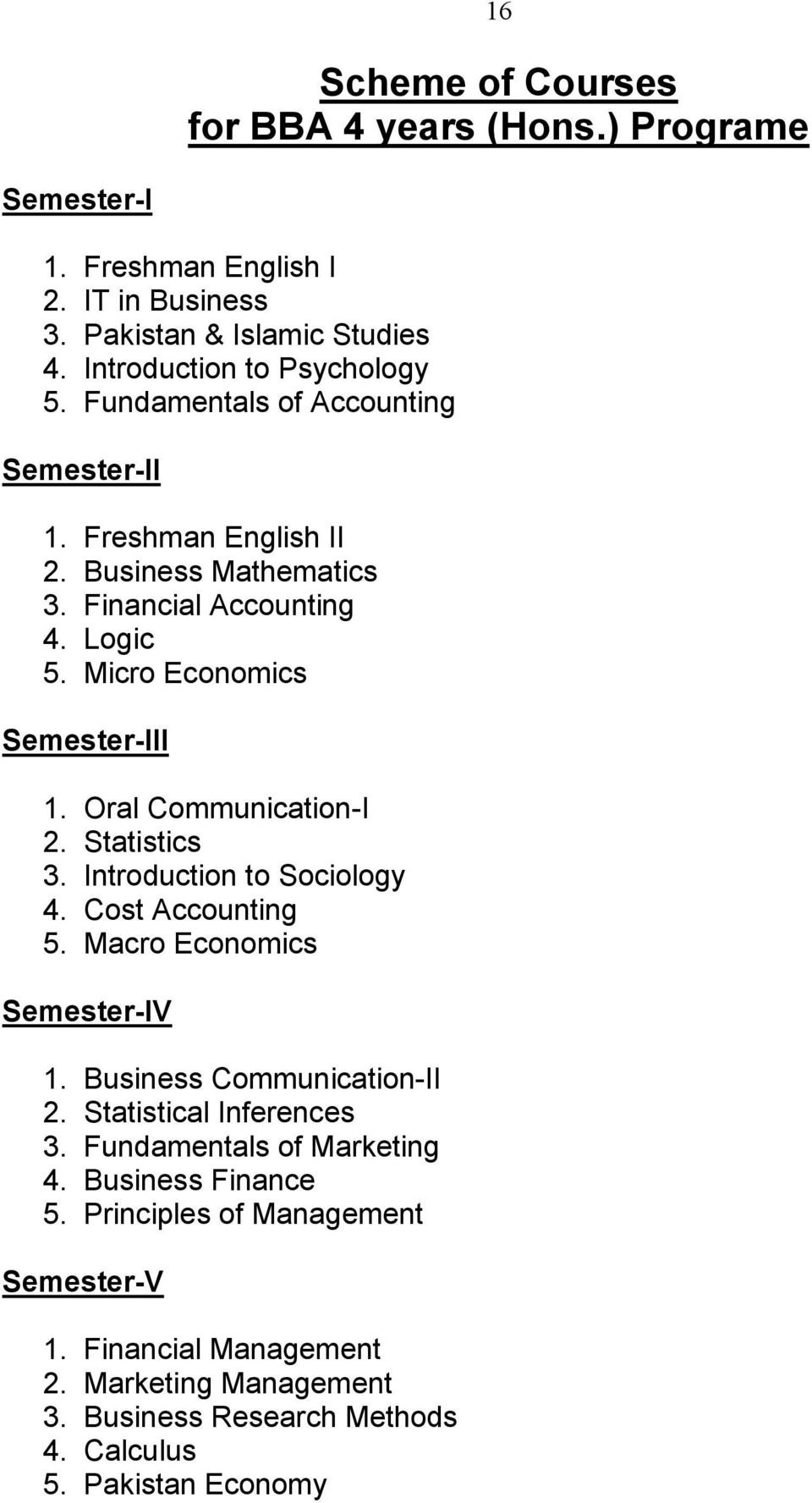 Oral Communication-I 2. Statistics 3. Introduction to Sociology 4. Cost Accounting 5. Macro Economics Semester-IV 1. Business Communication-II 2. Statistical Inferences 3.