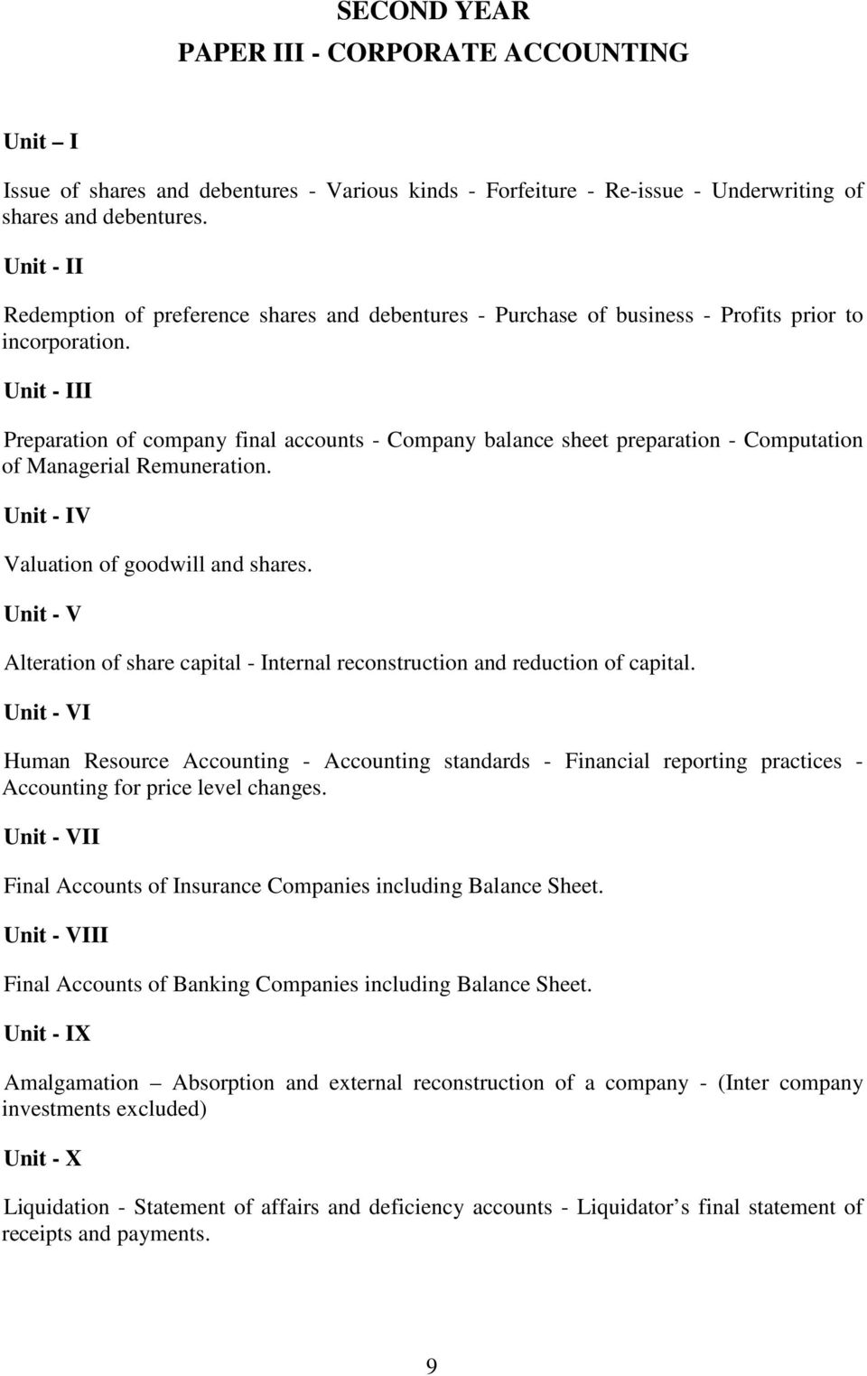 Unit - III Preparation of company final accounts - Company balance sheet preparation - Computation of Managerial Remuneration. Unit - IV Valuation of goodwill and shares.