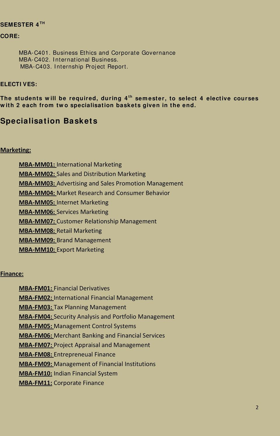 Specialisation Baskets Marketing: MBA-MM01: International Marketing MBA-MM02: Sales and Distribution Marketing MBA-MM03: Advertising and Sales Promotion Management MBA-MM04: Market Research and