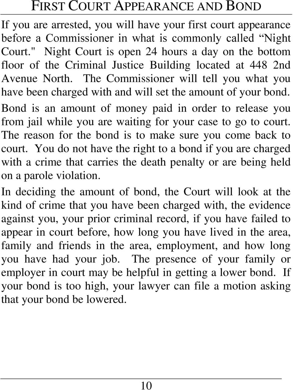 The Commissioner will tell you what you have been charged with and will set the amount of your bond.