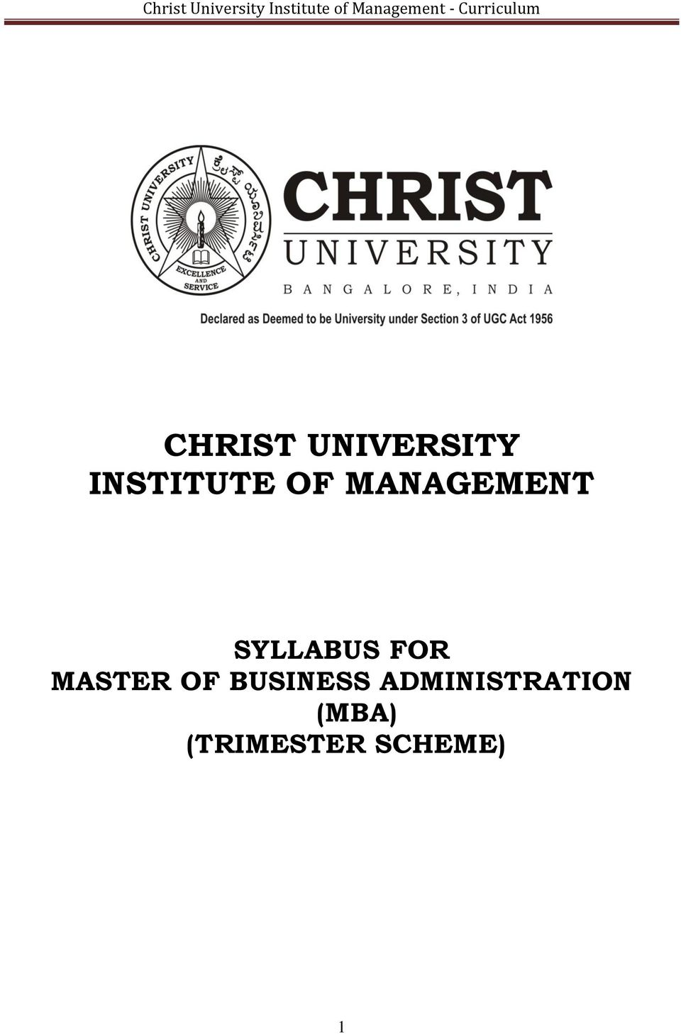 MASTER OF BUSINESS