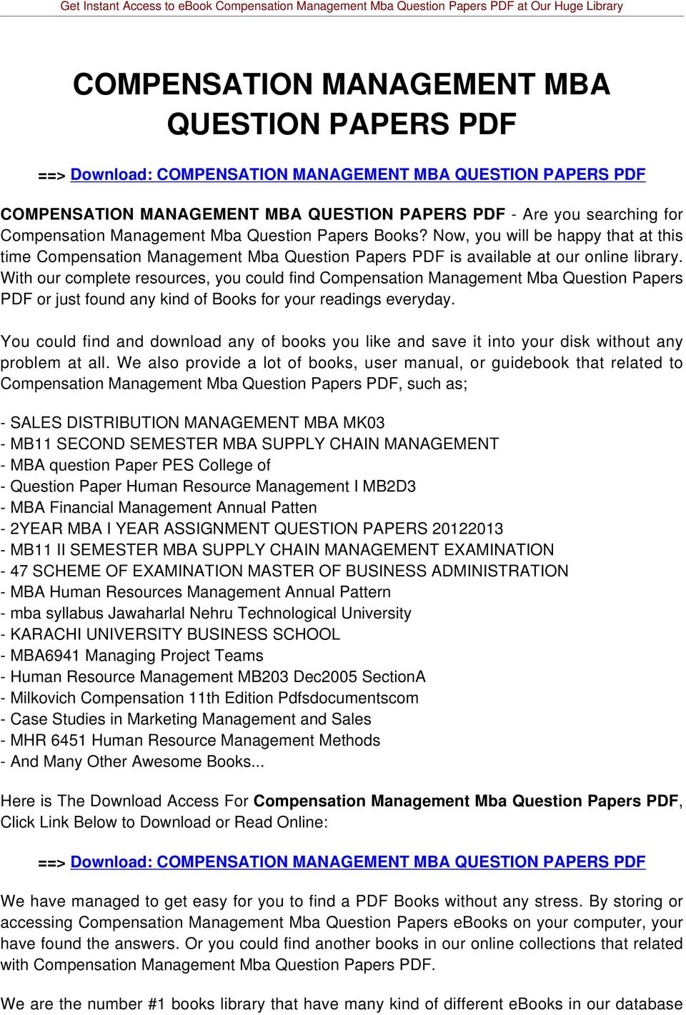 With our complete resources, you could find Compensation Management Mba Question Papers PDF or just found any kind of Books for your readings everyday.