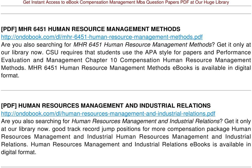 MHR 6451 Human Resource Management Methods ebooks is available in digital format. [PDF] HUMAN RESOURCES MANAGEMENT AND INDUSTRIAL RELATIONS http://ondobook.