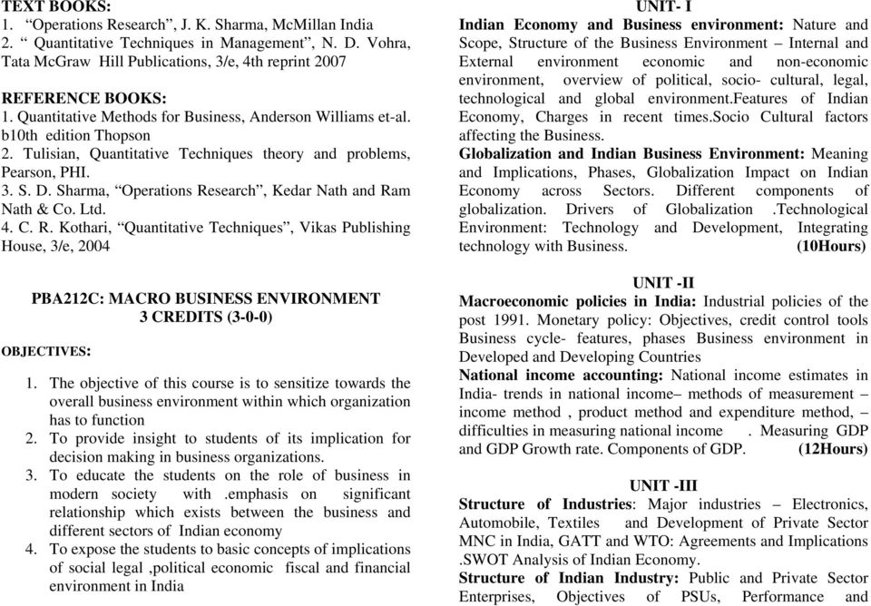 Sharma, Operations Research, Kedar Nath and Ram Nath & Co. Ltd. 4. C. R. Kothari, Quantitative Techniques, Vikas Publishing House, 3/e, 2004 PBA212C: MACRO BUSINESS ENVIRONMENT 3 CREDITS (3-0-0) OBJECTIVES: 1.