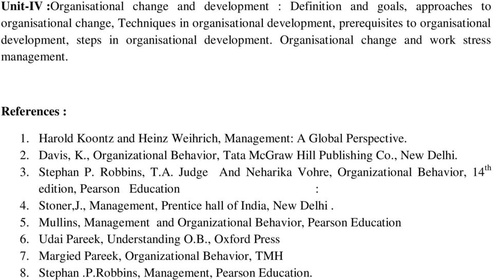 , Organizational Behavior, Tata McGraw Hill Publishing Co., New Delhi. 3. Stephan P. Robbins, T.A. Judge And Neharika Vohre, Organizational Behavior, 14 th edition, Pearson Education : 4. Stoner,J.
