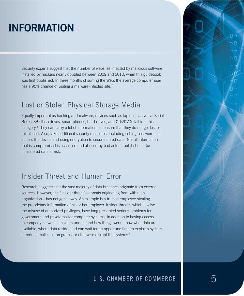 7 Lost or Stolen Physical Storage Media Equally important as hacking and malware, devices such as laptops, Universal Serial Bus (USB) flash drives, smart phones, hard drives, and CDs/DVDs fall into