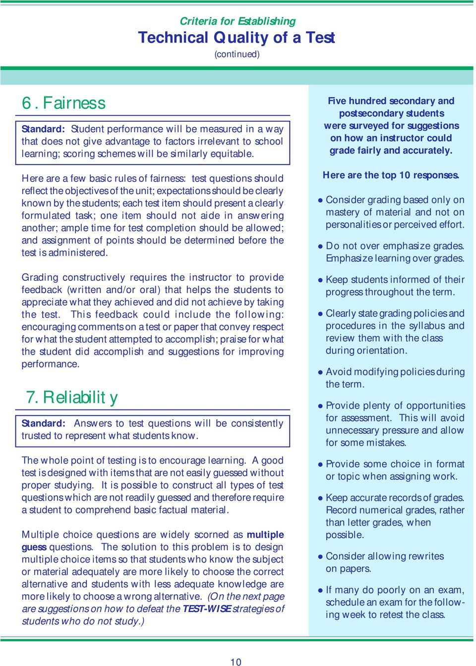 Here are a few basic rules of fairness: test questions should reflect the objectives of the unit; expectations should be clearly known by the students; each test item should present a clearly