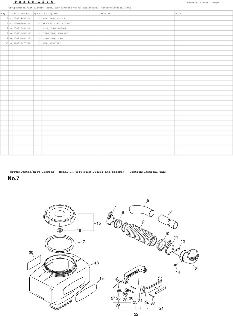 250914-06210 2 PIN, TANK HOLDER 26 + 250902-06310 2 BRACKET ASSY, C.