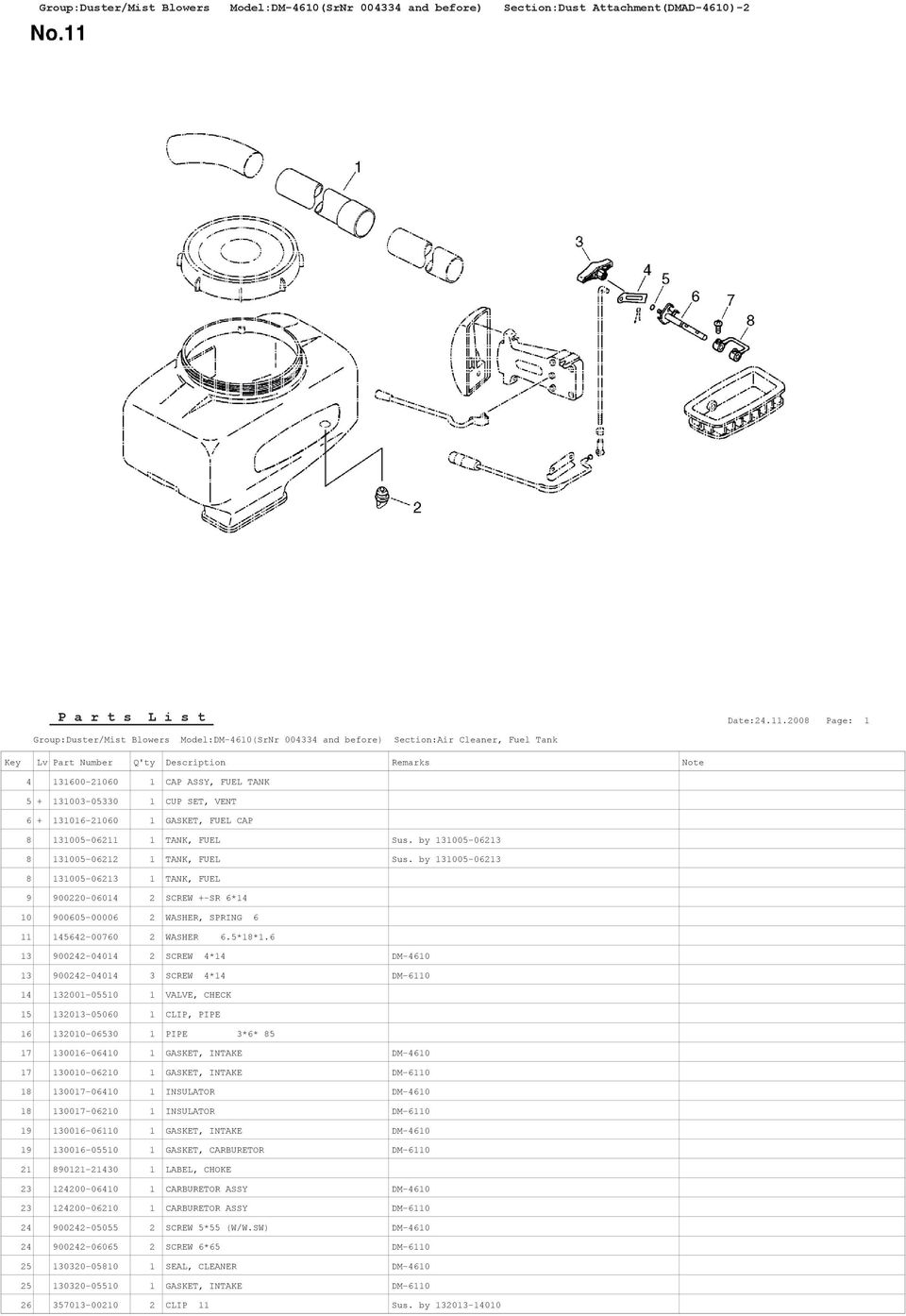by 131005-06213 8 131005-06213 1 TANK, FUEL 9 900220-06014 2 SCREW +-SR 6*14 10 900605-00006 2 WASHER, SPRING 6 11 145642-00760 2 WASHER 6.5*18*1.