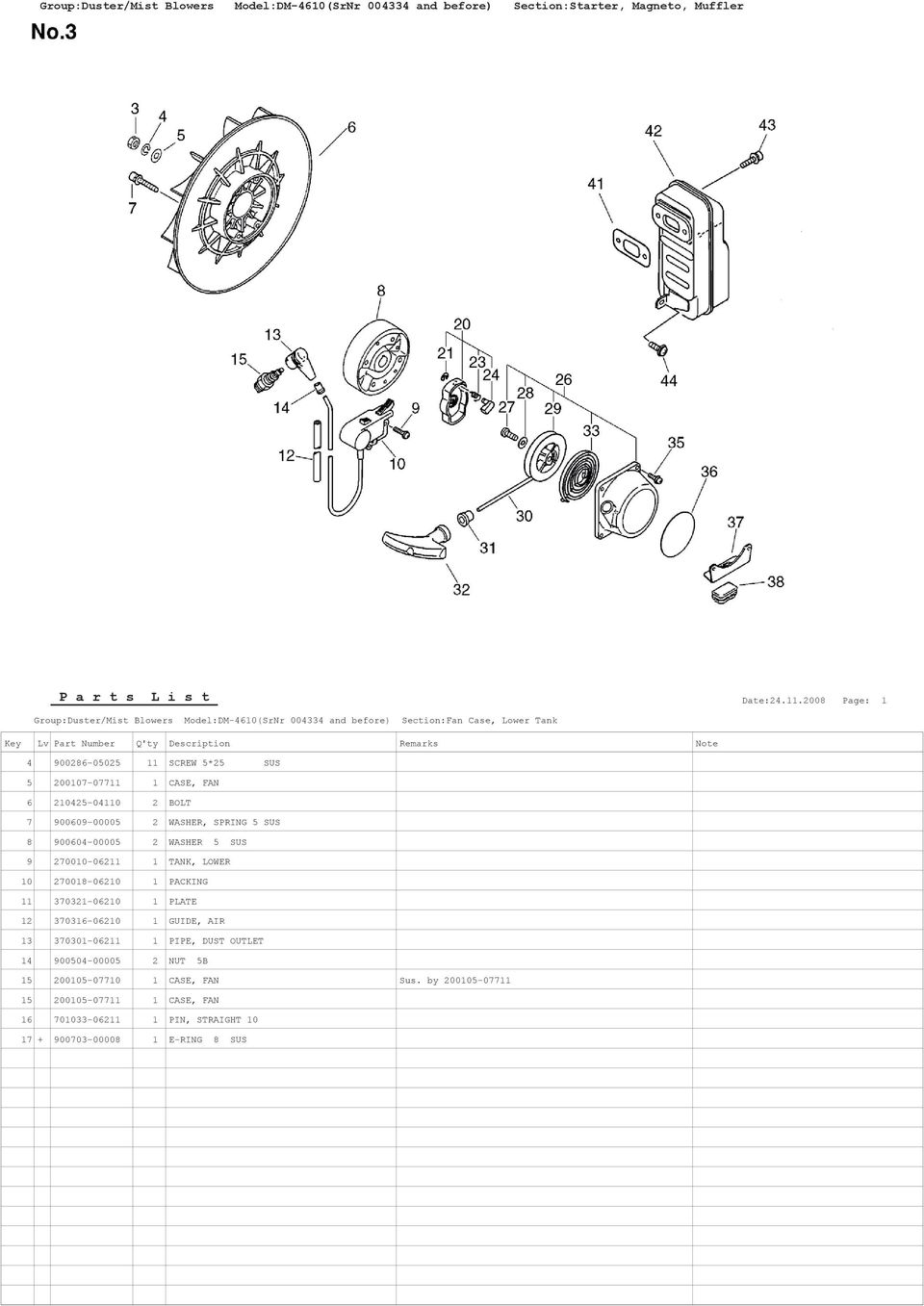2 WASHER 5 SUS 9 270010-06211 1 TANK, LOWER 10 270018-06210 1 PACKING 11 370321-06210 1 PLATE 12 370316-06210 1 GUIDE, AIR 13 370301-06211 1 PIPE, DUST OUTLET 14
