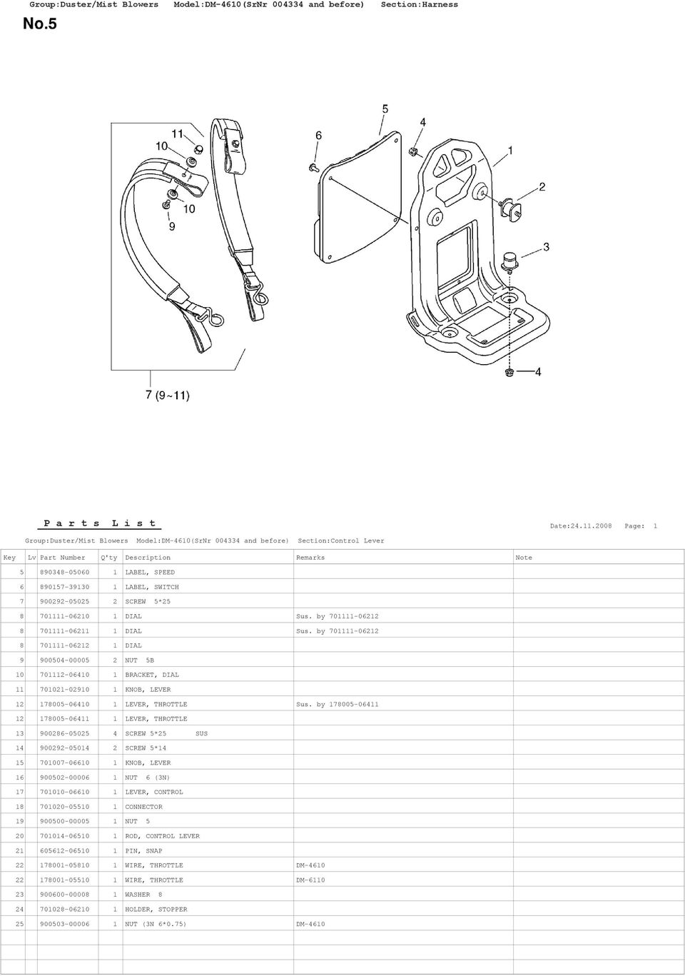 by 701111-06212 8 701111-06212 1 DIAL 9 900504-00005 2 NUT 5B 10 701112-06410 1 BRACKET, DIAL 11 701021-02910 1 KNOB, LEVER 12 178005-06410 1 LEVER, THROTTLE Sus.