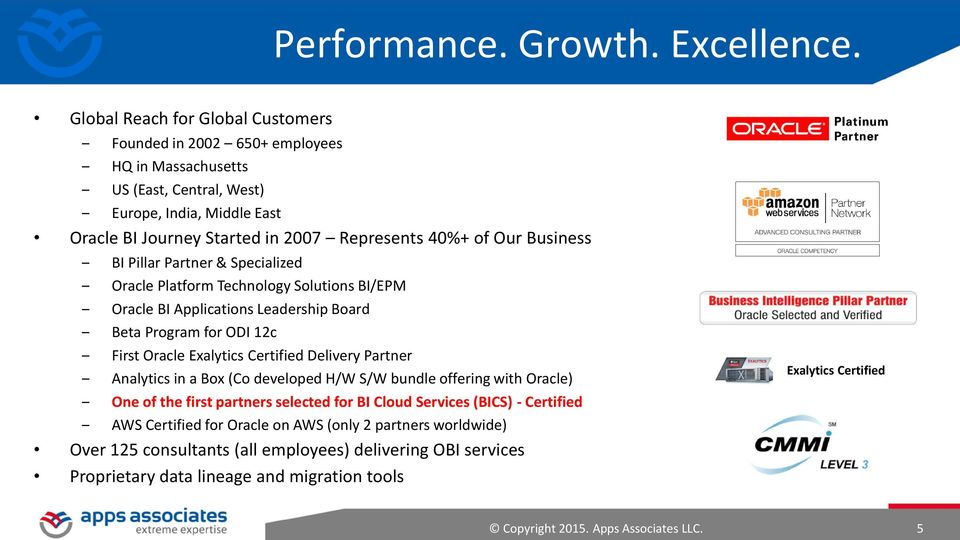 Business BI Pillar Partner & Specialized Oracle Platform Technology Solutions BI/EPM Oracle BI Applications Leadership Board Beta Program for ODI 12c First Oracle Exalytics Certified Delivery Partner