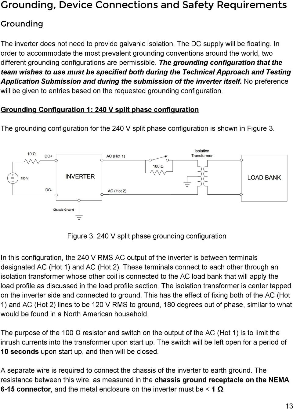 The grounding configuration that the team wishes to use must be specified both during the Technical Approach and Testing Application Submission and during the submission of the inverter itself.