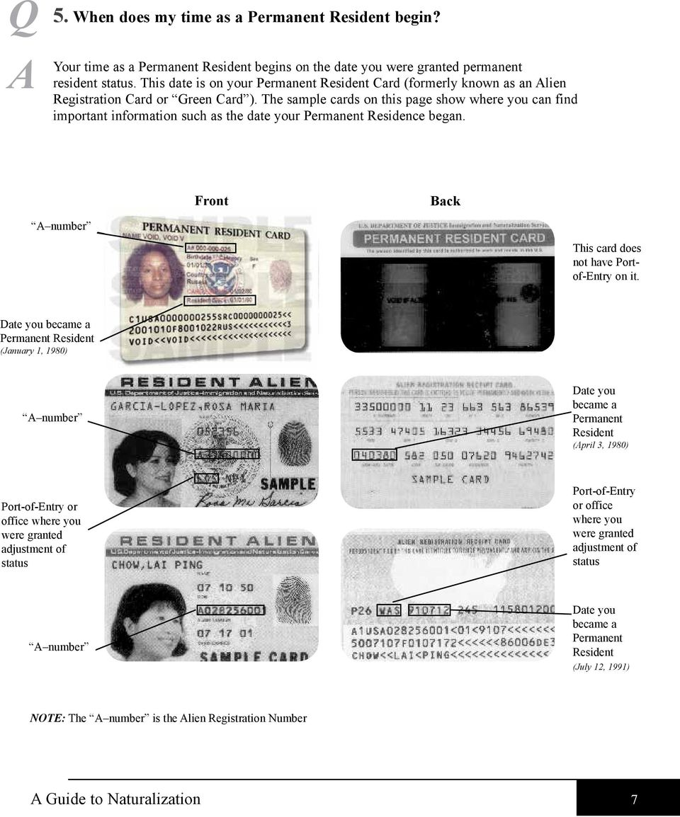 The sample cards on this page show where you can find important information such as the date your Permanent Residence began. Front Back A number This card does not have Portof-Entry on it.