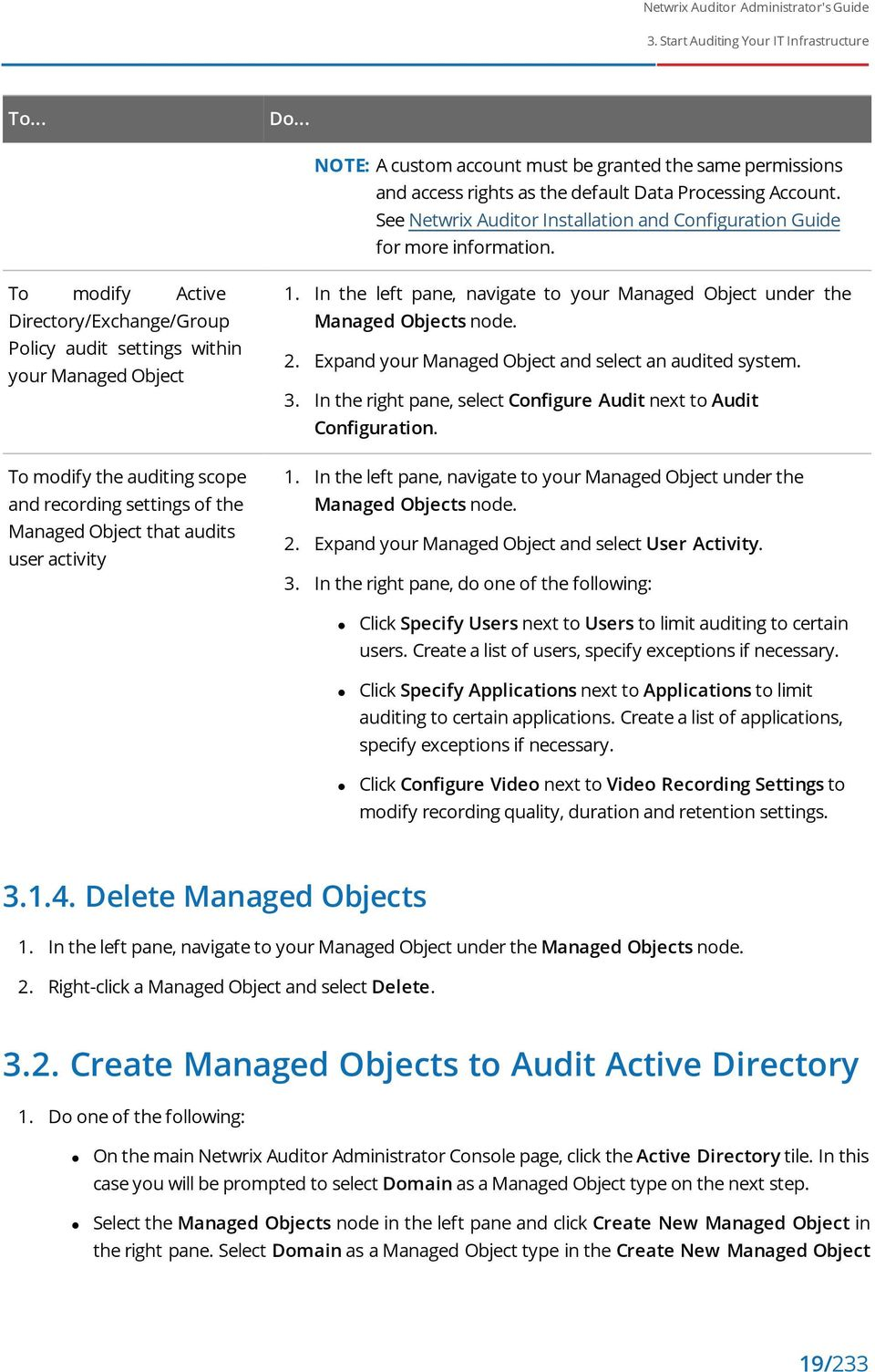 To modify Active Directory/Exchange/Group Policy audit settings within your Managed Object To modify the auditing scope and recording settings of the Managed Object that audits user activity 1.