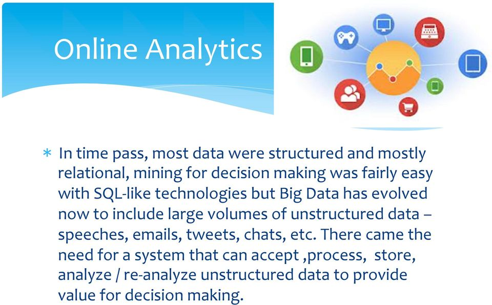 volumes of unstructured data speeches, emails, tweets, chats, etc.