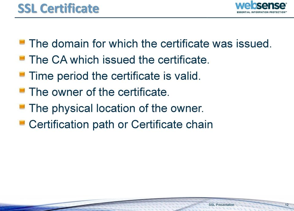 Time period the certificate is valid. The owner of the certificate.