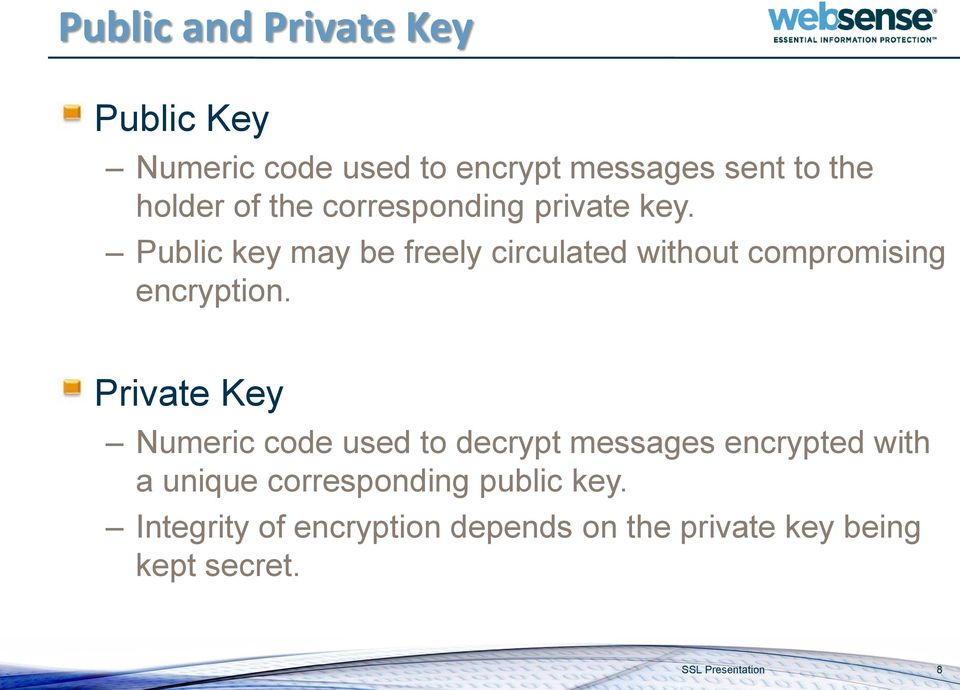 Public key may be freely circulated without compromising encryption.