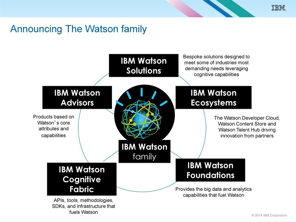 Cognitive Fabric APIs, tools, methodologies, SDKs, and infrastructure that fuels Watson IBM Watson family IBM Watson Foundations The Watson