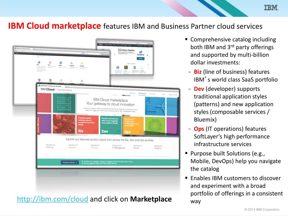 business) features IBM s world class SaaS portfolio - Dev (developer) supports traditional application styles (patterns) and new application styles (composable services /