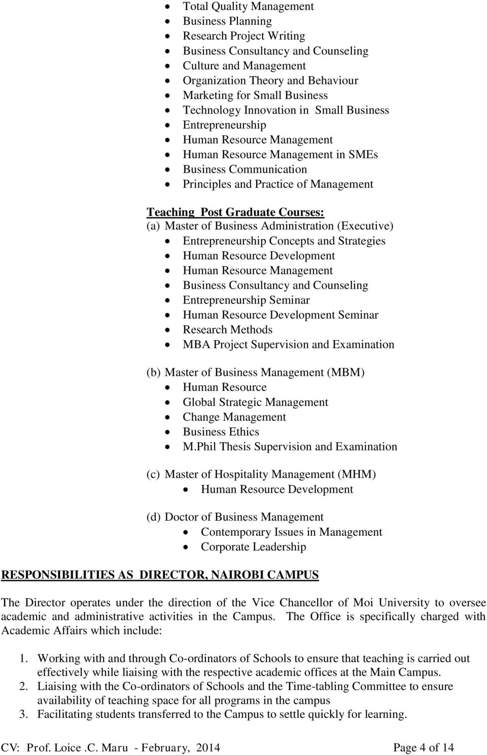 curriculum vitae moi university school of business and economics graduate courses a master of business administration executive entrepreneurship concepts and