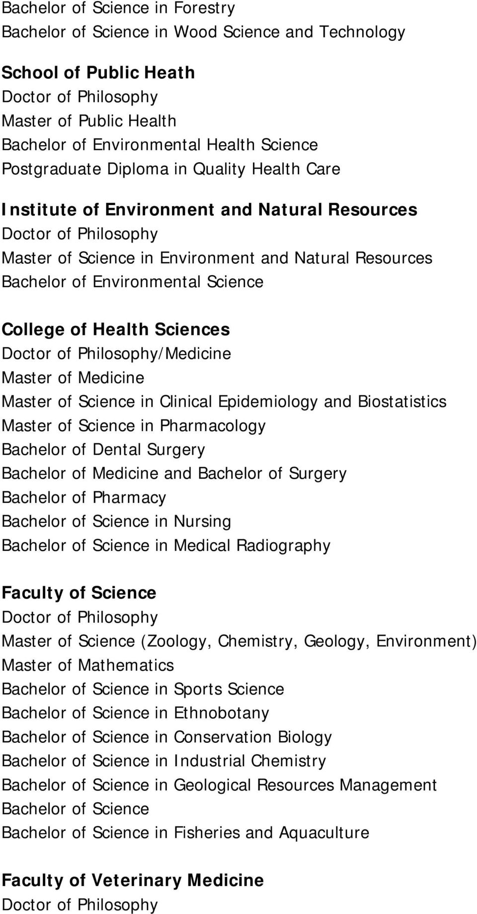 of Medicine Master of Science in Clinical Epidemiology and Biostatistics Master of Science in Pharmacology Bachelor of Dental Surgery Bachelor of Medicine and Bachelor of Surgery Bachelor of Pharmacy
