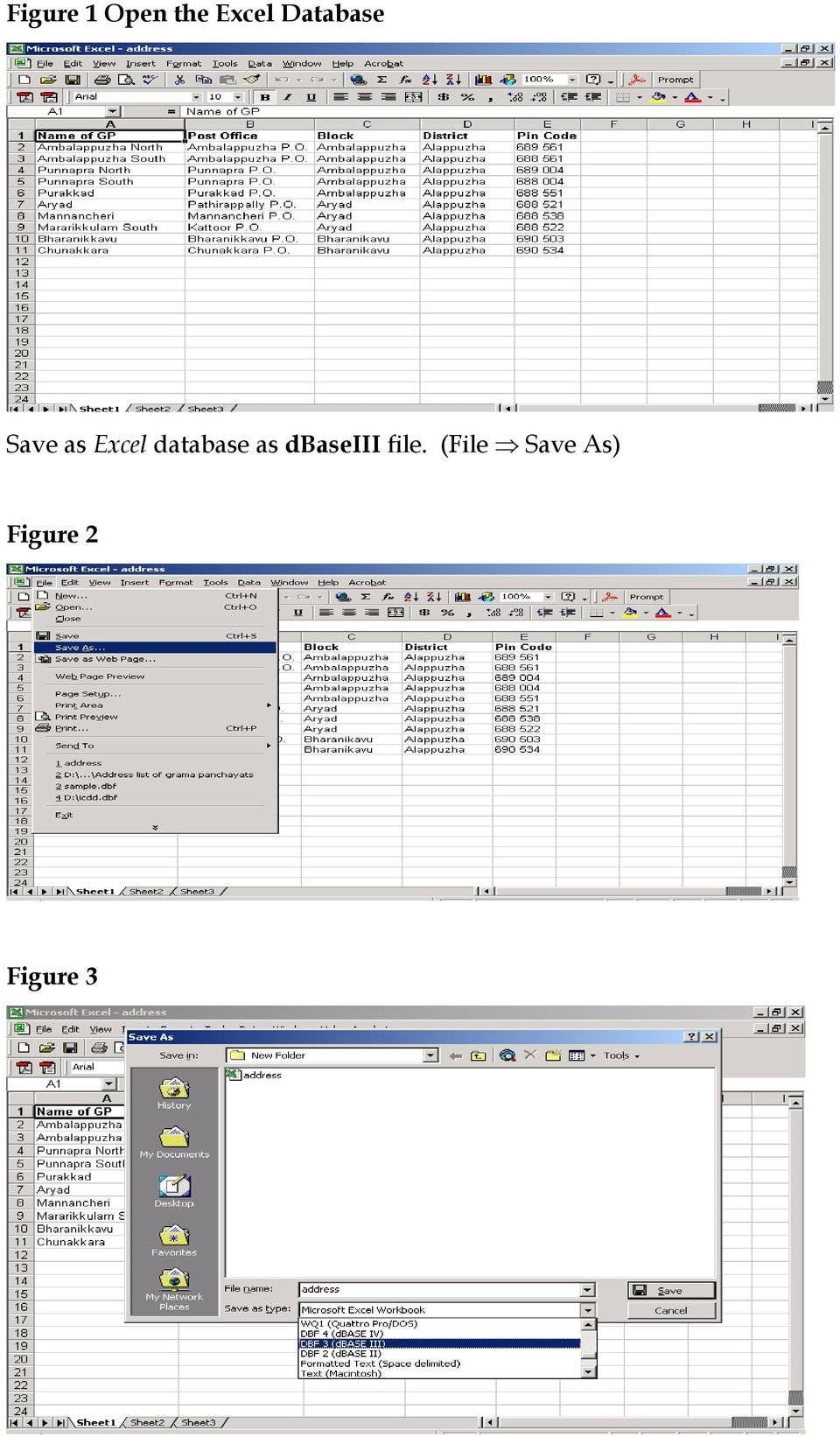 the sample excel database used here to show the conversion from