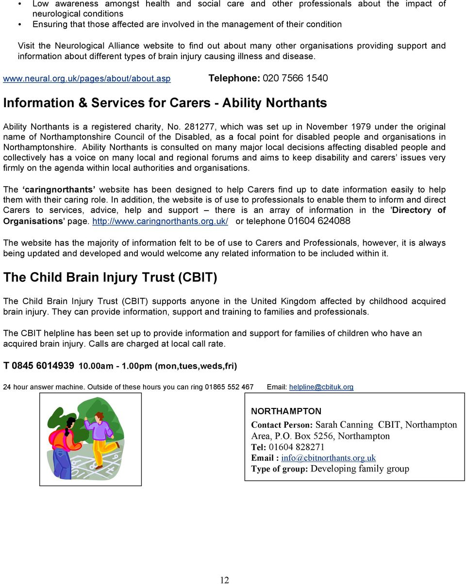 asp Telephone: 020 7566 1540 Information & Services for Carers - Ability Northants Ability Northants is a registered charity, No.