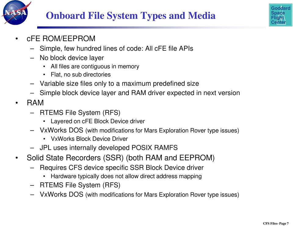 DOS (with modifications for Mars Exploration Rover type issues) VxWorks Block Device Driver JPL uses internally developed POSIX RAMFS Solid State Recorders (SSR) (both RAM and EEPROM) Requires