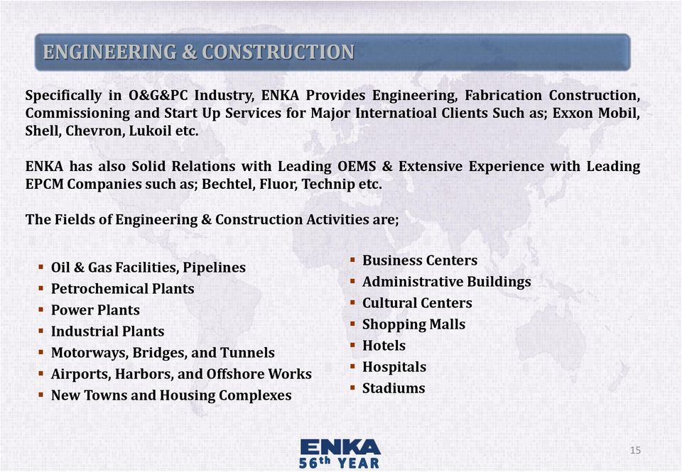 ENKA has also Solid Relations with Leading OEMS & Extensive Experience with Leading EPCM Companies such as; Bechtel, Fluor, Technip etc.