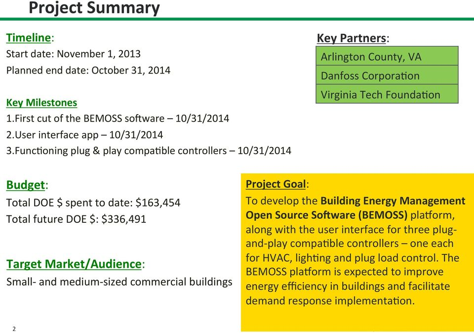 $336,491 Target Market/Audience: Small- and medium- sized commercial buildings Project Goal: To develop the Building Energy Management Open Source SoCware (BEMOSS) plauorm, along with the user