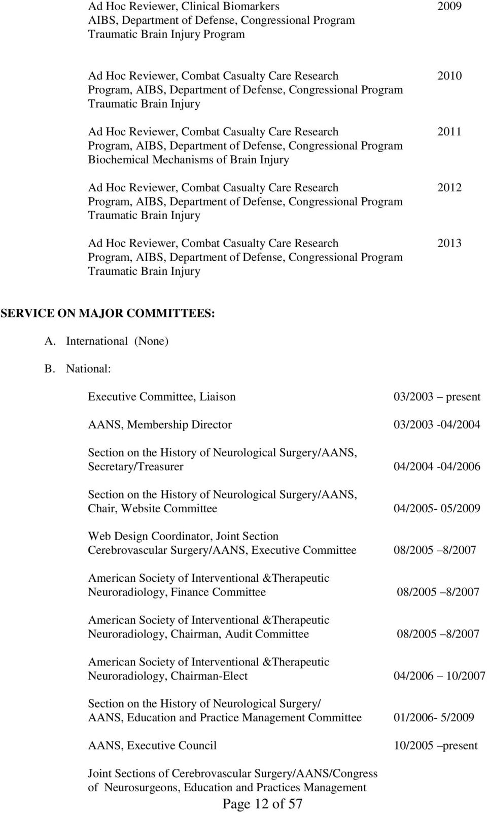 Mechanisms of Brain Injury Ad Hoc Reviewer, Combat Casualty Care Research 2012 Program, AIBS, Department of Defense, Congressional Program Traumatic Brain Injury Ad Hoc Reviewer, Combat Casualty Care