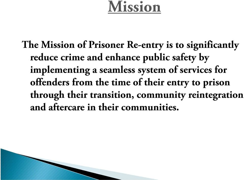 services for offenders from the time of their entry to prison