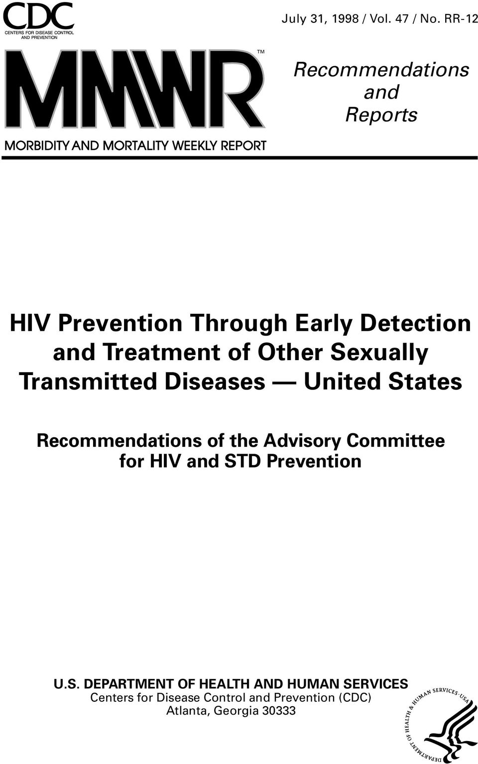 of Other Sexually Transmitted Diseases United States Recommendations of the Advisory