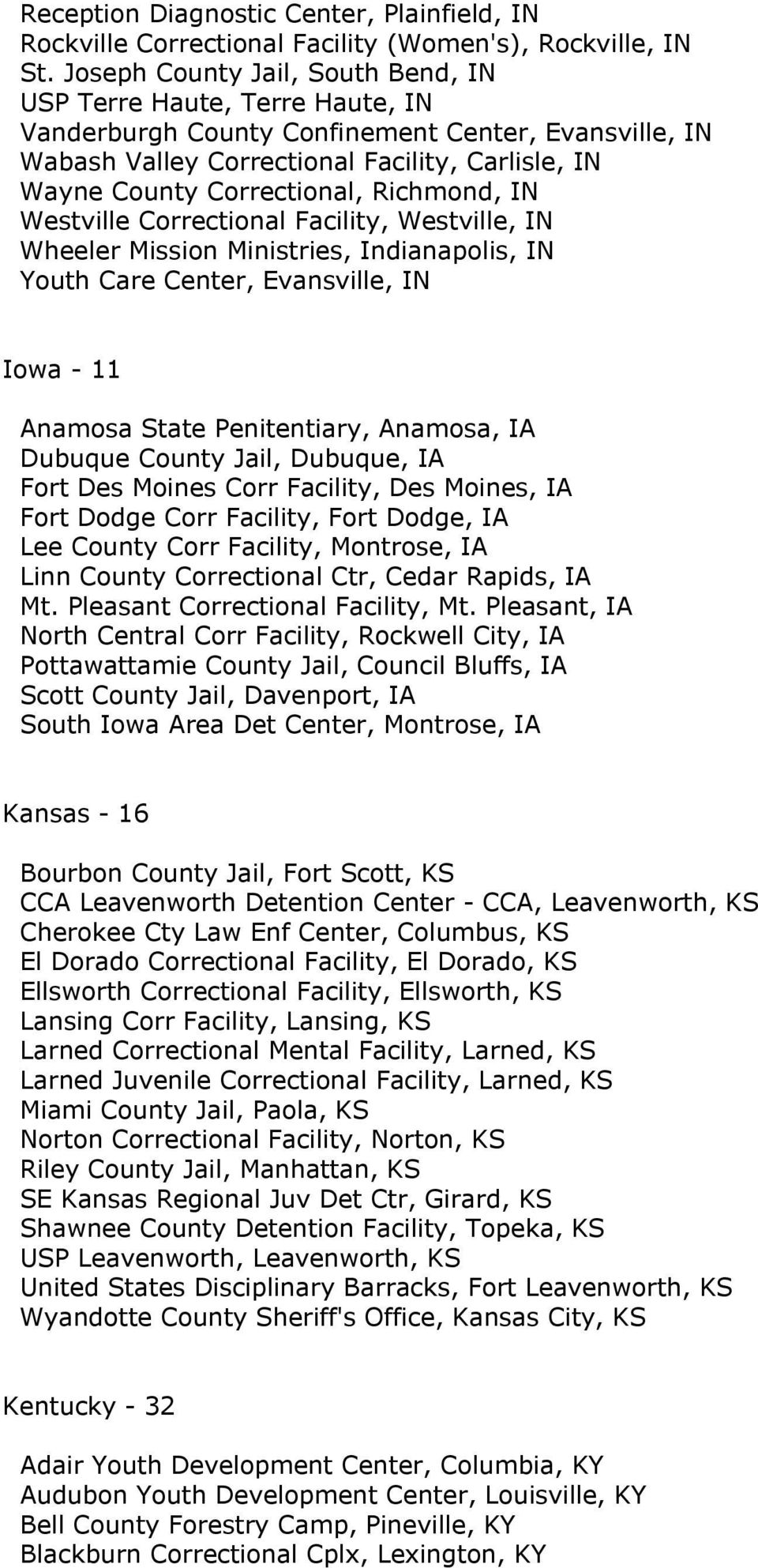 Richmond, IN Westville Correctional Facility, Westville, IN Wheeler Mission Ministries, Indianapolis, IN Youth Care Center, Evansville, IN Iowa - 11 Anamosa State Penitentiary, Anamosa, IA Dubuque