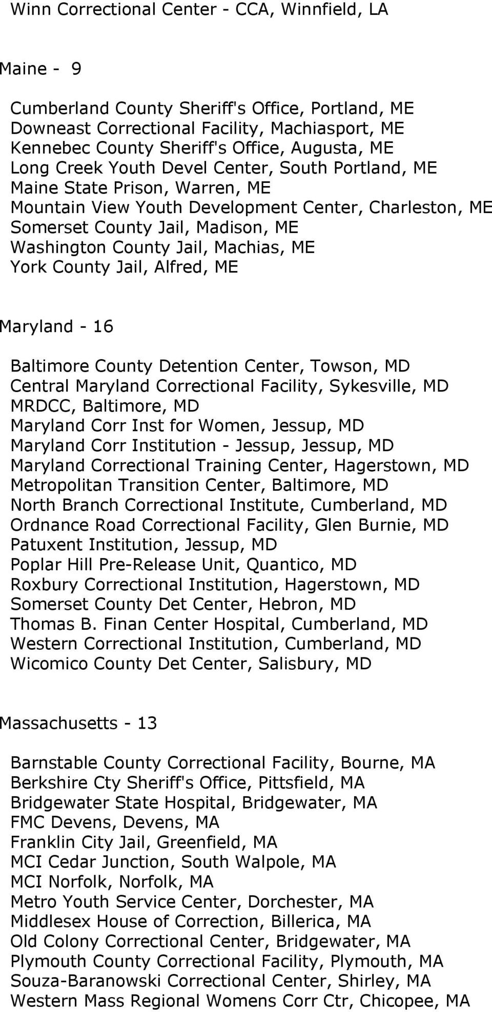 Machias, ME York County Jail, Alfred, ME Maryland - 16 Baltimore County Detention Center, Towson, MD Central Maryland Correctional Facility, Sykesville, MD MRDCC, Baltimore, MD Maryland Corr Inst for
