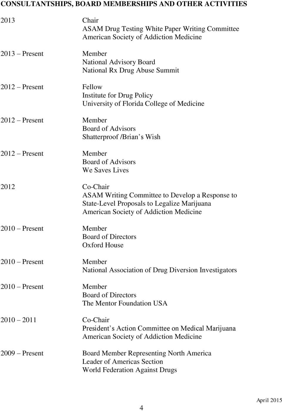 Member Board of Advisors We Saves Lives 2012 Co-Chair ASAM Writing Committee to Develop a Response to State-Level Proposals to Legalize Marijuana American Society of Addiction Medicine 2010 Present