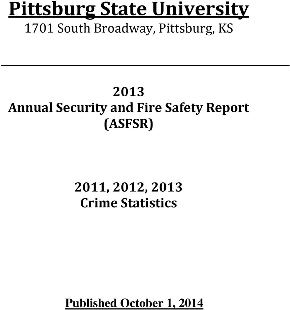 Security and Fire Safety Report (ASFSR)