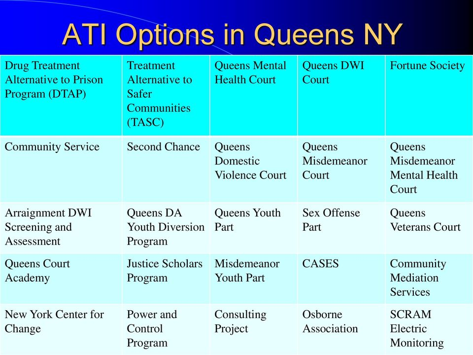 Screening and Assessment Queens DA Youth Diversion Program Queens Youth Part Sex Offense Part Queens Veterans Court Queens Court Academy Justice Scholars Program