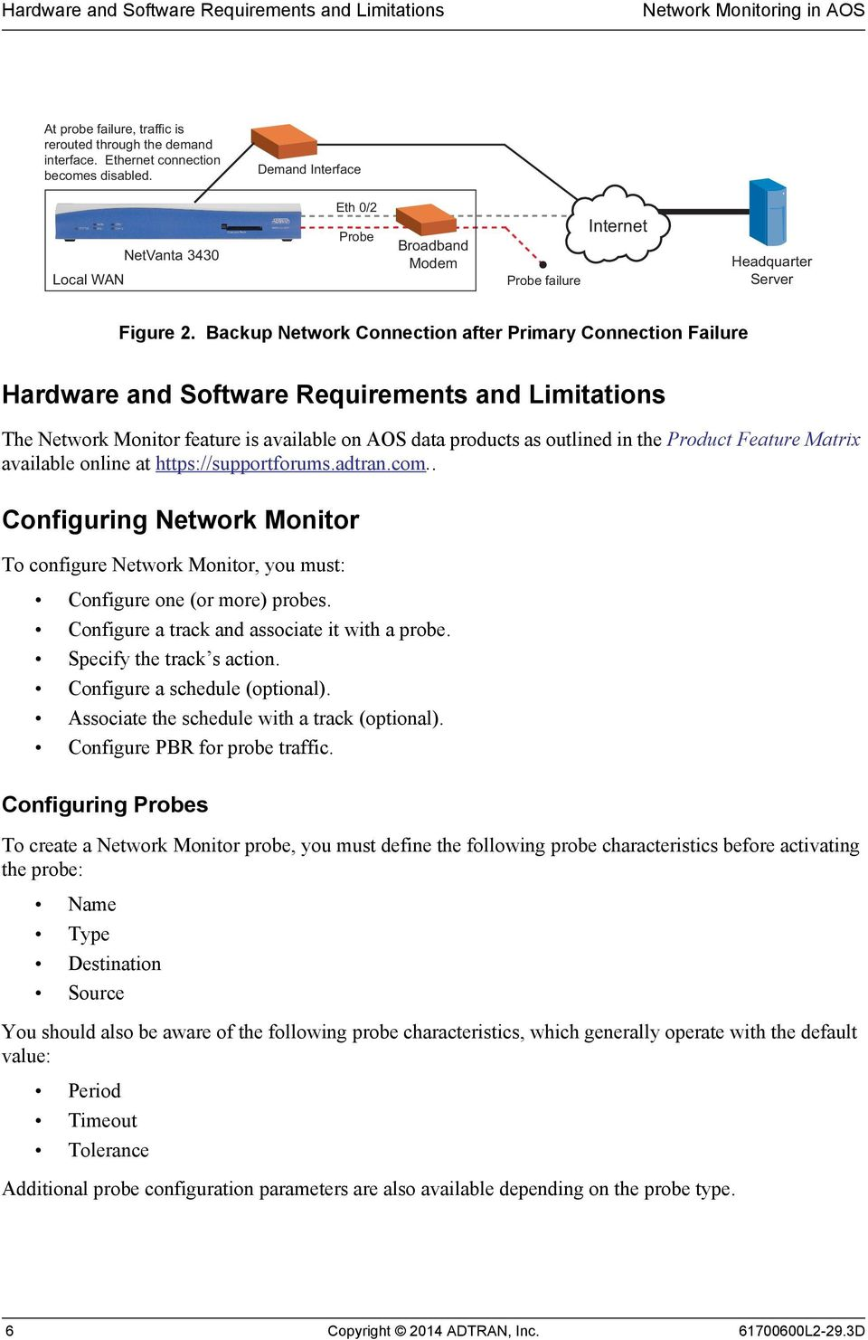 Backup Network Connection after Primary Connection Failure Hardware and Software Requirements and Limitations The Network Monitor feature is available on AOS data products as outlined in the Product