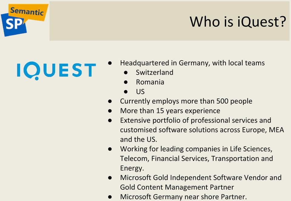 years experience Extensive portfolio of professional services and customised software solutions across Europe, MEA and