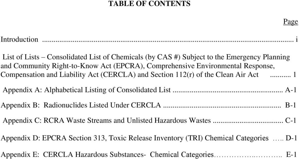 Environmental Response, Compensation and Liability Act (CERCLA) and Section of the Clean Air Act... 1 Appendix A: Alphabetical Listing of Consolidated List.