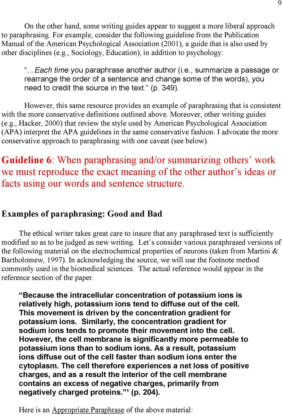 avoiding plagiarism self plagiarism and other questionable e summarize a passage or rearrange the order of a sentence and change some
