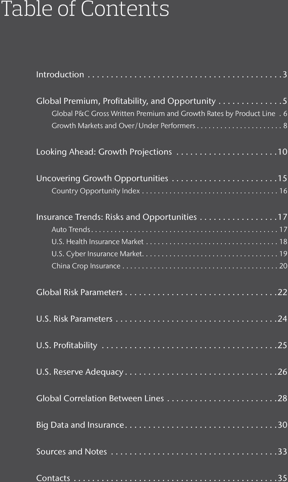 ...16 Insurance Trends: Risks and Opportunities...17 Auto Trends....17 U.S. Health Insurance Market....18 U.S. Cyber Insurance Market....19 China Crop Insurance.