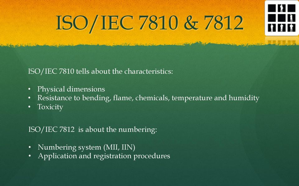 temperature and humidity Toxicity ISO/IEC 7812 is about the