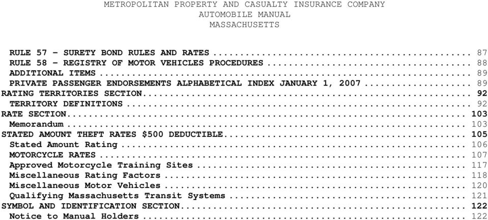 .. 103 Memorandum... 103 STATED AMOUNT THEFT RATES $500 DEDUCTIBLE... 105 Stated Amount Rating... 106 MOTORCYCLE RATES.