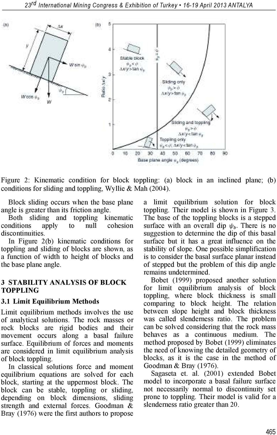 In Figure 2(b) kinematic conditions for toppling and sliding of blocks are shown, as a function of width to height of blocks and the base plane angle. 3 STABILITY ANALYSIS OF BLOCK TOPPLING 3.