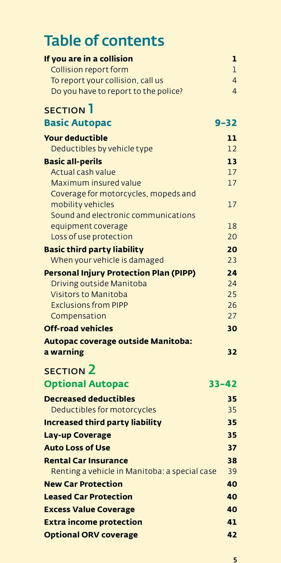 vehicles 17 Sound and electronic communications equipment coverage 18 Loss of use protection 20 Basic third party liability 20 When your vehicle is damaged 23 Personal Injury Protection Plan (PIPP)
