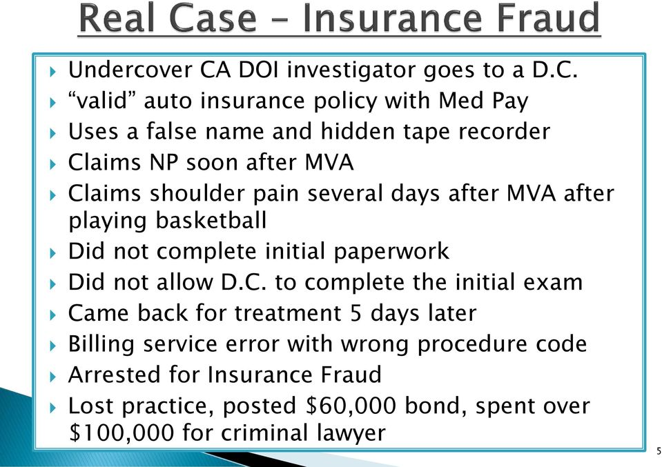valid auto insurance policy with Med Pay Uses a false name and hidden tape recorder Claims NP soon after MVA Claims shoulder