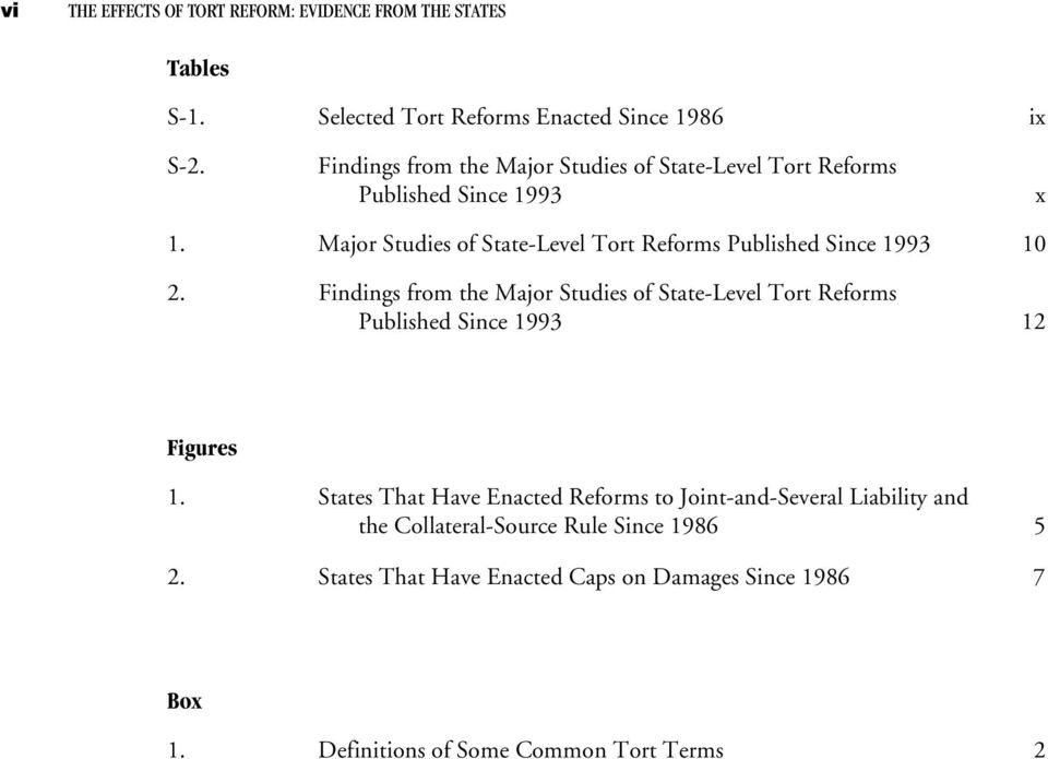 Major Studies of State-Level Tort Reforms Published Since 1993 10 2.